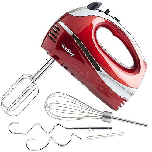 Vonshef Red 250W Hand Mixer Whisk With Chrome Beater Dough Hook 5 Speed And Turbo Button + Free Balloon Whisk - Appliance