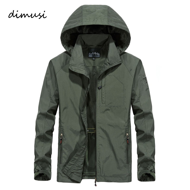 DIMUSI Autumn Men's Thin Jacket Male Casual Overcoat Army Tactics Windbreaker Jacket Mens Waterproof Breathable Hooded 6XL,TA205