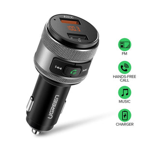 Ugreen Car Charger Bluetooth FM Transmitter Quick 3.0 Fast Charger for Xiaomi USB Charger for iPhone X Samsung Huawei Hands Free