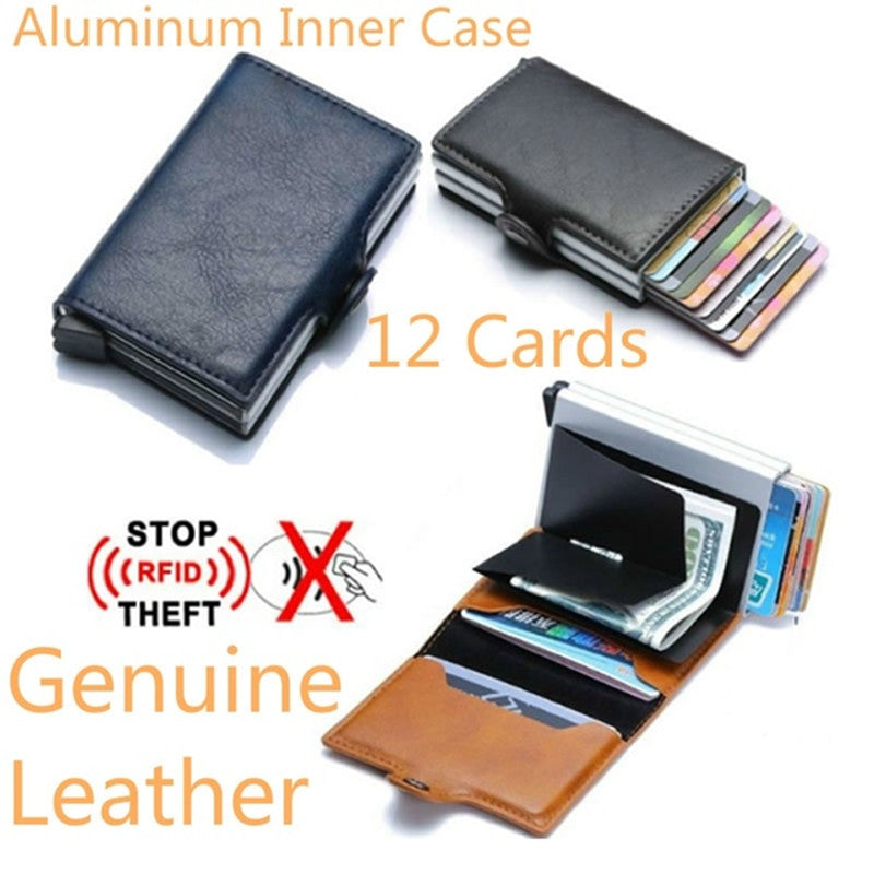 29e520569cb3 Twin Metal Card Holder RFID Blocking Leather Business ID Credit ...