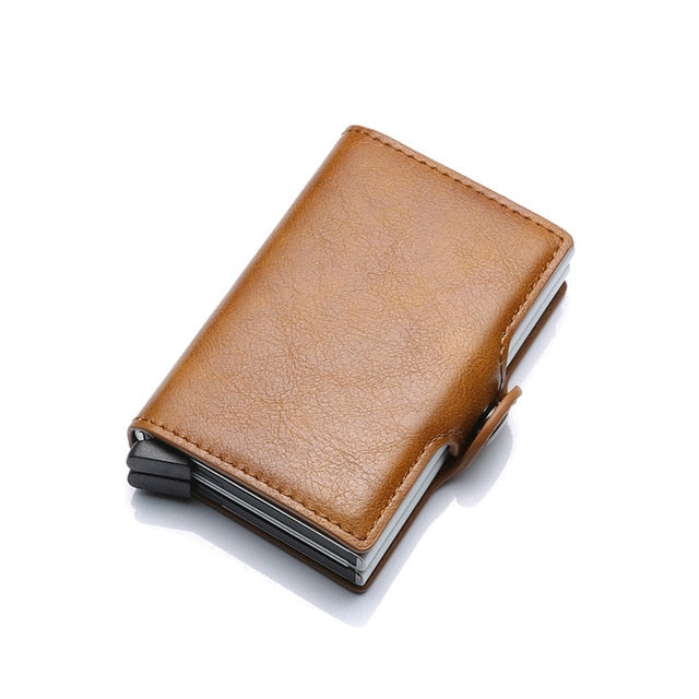 Twin Metal Card Holder RFID Blocking Leather Business ID Credit Cardholder 2019 Men Thin Double Aluminium Case Wallet Mini Purse