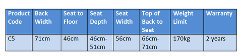 C5 pride Lift Chair specifications