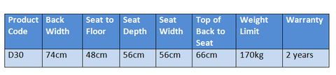 D30 pride Lift chair product specifications