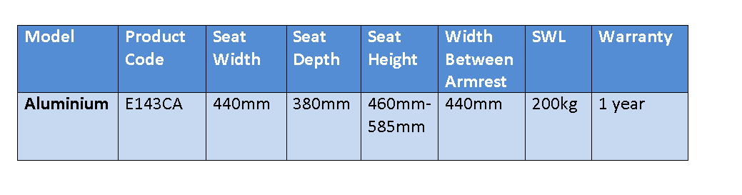 E143CA Aluminium Shower Chair Specifications