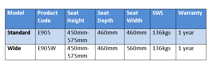 E905 Pacific Kingston day chair specifications