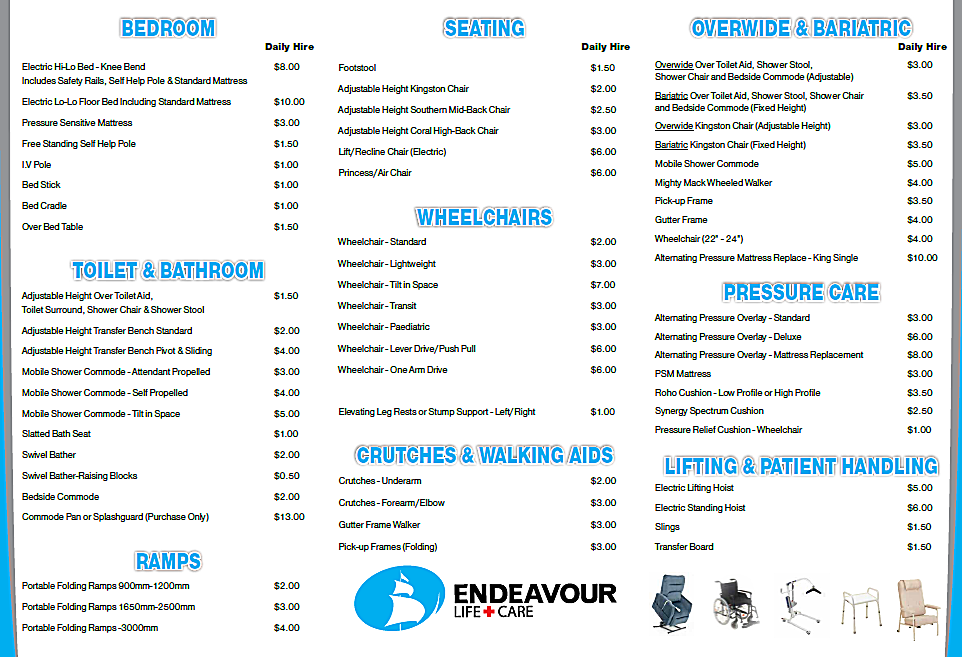 Endeavour Life Care- Product Hire List