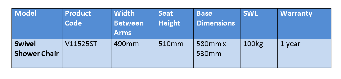 Swivel Shower Stool Specifications