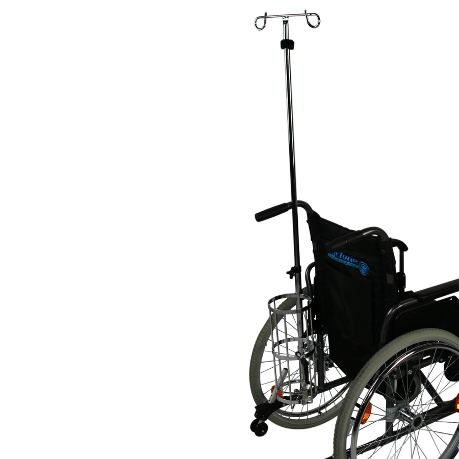 Wheelchair Oxygen Bottle Carrier & Iv Pole
