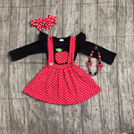Polka Dot Suspender Dress w/ Apple