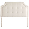 Scoop Square Tufted Upholstered Headboard in Ivory