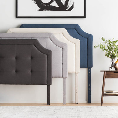 Scoop Square Tufted Upholstered Headboard in Stone