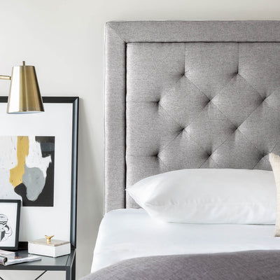 Rectangle Diamond Tufted Upholstered Headboard in Stone