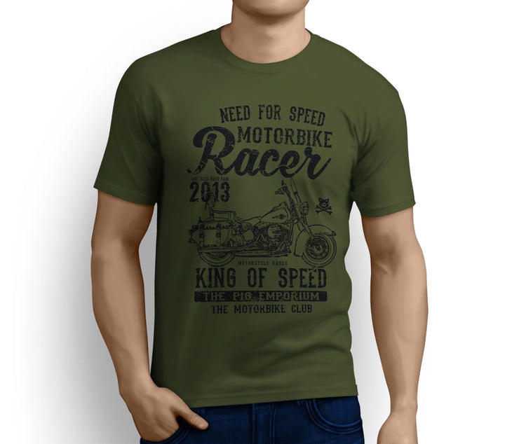 RH King Art Tee aimed at fans of Harley Davidson Heritage Softail Classic Motorbike