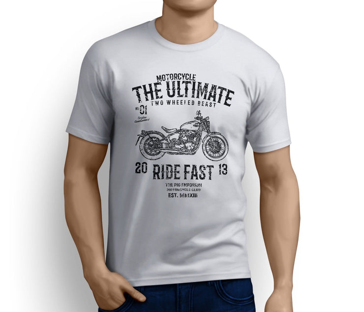 RH Ultimate Art Tee aimed at fans of Triumph Bonneville Bobber Motorbike