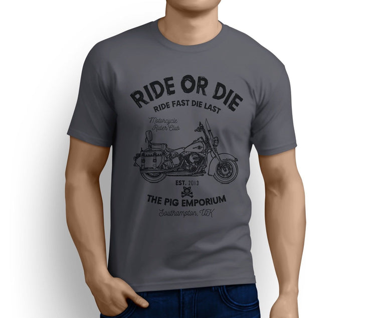RH Ride Art Tee aimed at fans of Harley Davidson Heritage Softail Classic Motorbike