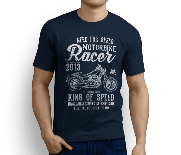 RH King Art Tee aimed at fans of Harley Davidson Fat Bob Motorbike