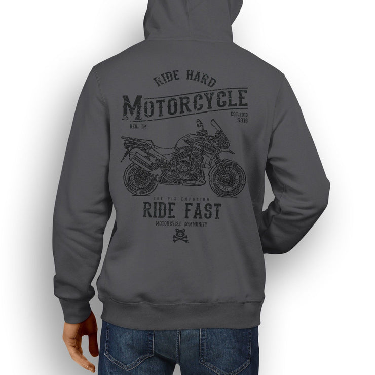 RH* Art Hoodie aimed at fans of Triumph Tiger Explorer Spoked Wheels Motorbike