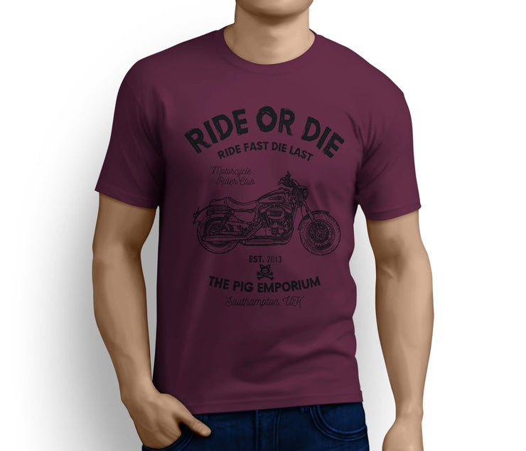 RH Ride Art Tee aimed at fans of Harley Davidson 1200 Custom Motorbike