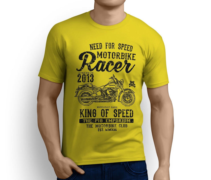 RH King Art Tee aimed at fans of Harley Davidson Softail Deluxe Motorbike