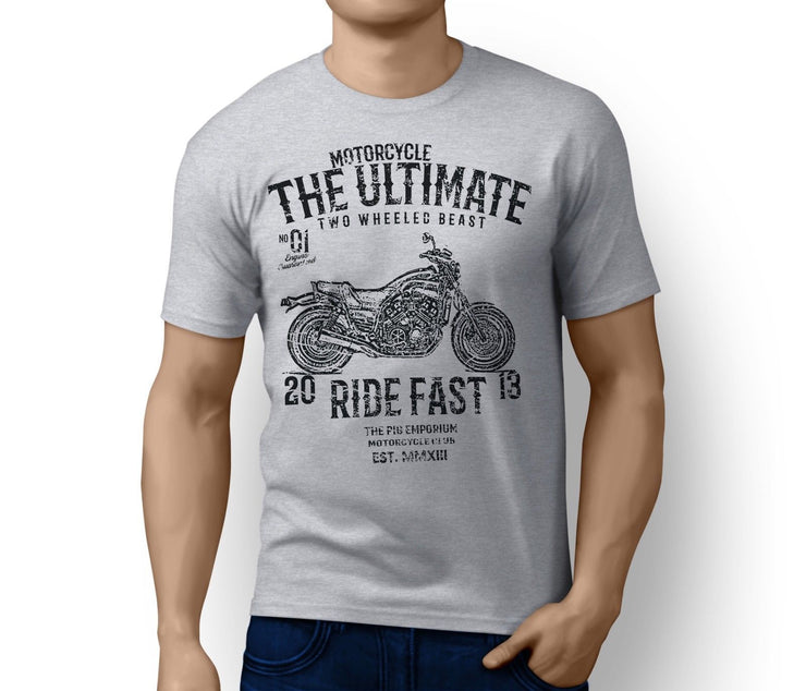 RH Ultimate Illustration For A Yamaha VMAX 1200 Full Power Old School Motorbike