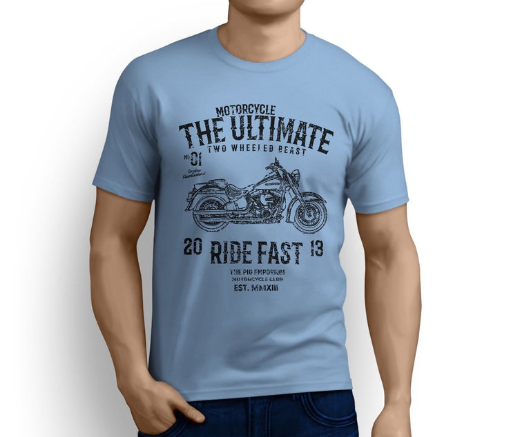 RH Ultimate Art Tee aimed at fans of Harley Davidson Softail Deluxe Motorbike