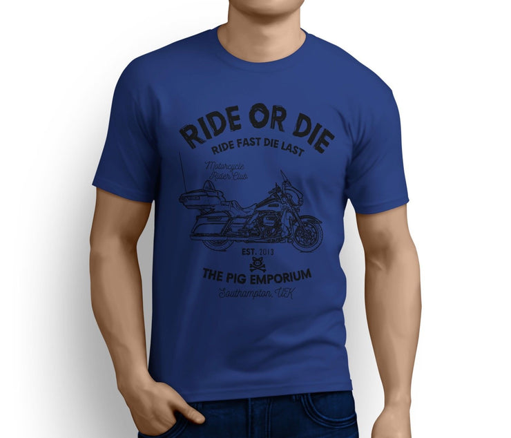 RH Ride Art Tee aimed at fans of Harley Davidson Electra Glide Ultra Classic Motorbike