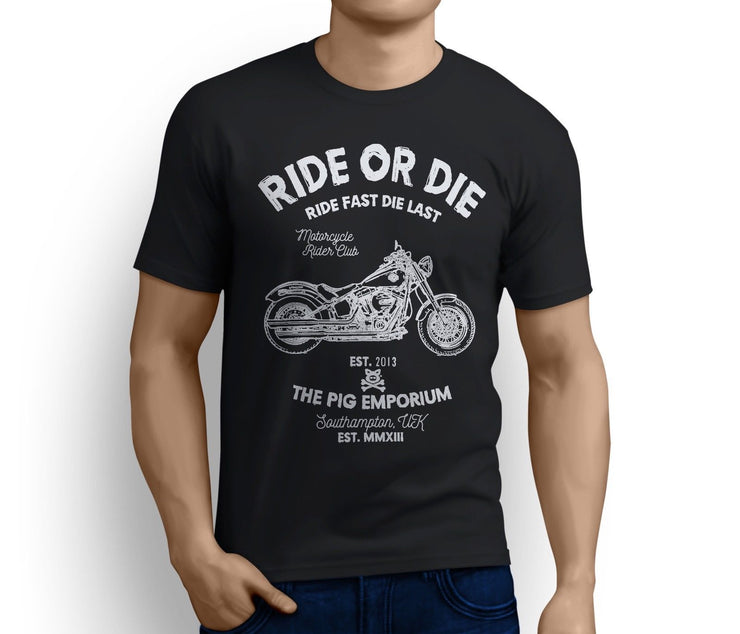 RH Ride Art Tee aimed at fans of Harley Davidson Softail Slim Motorbike