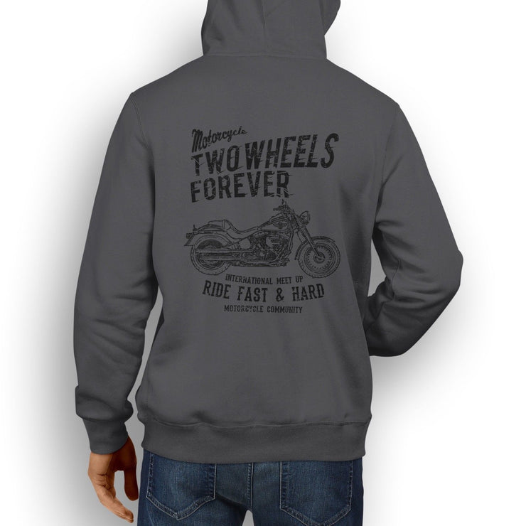 RH Illustration For A Harley Davidson Fat Boy Motorbike Fan Hoodie