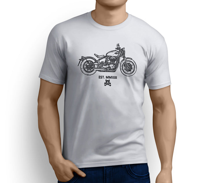 Road Hogs Art Tee aimed at fans of Triumph Bonneville Bobber 2017 Motorbike - Jaxon lee
