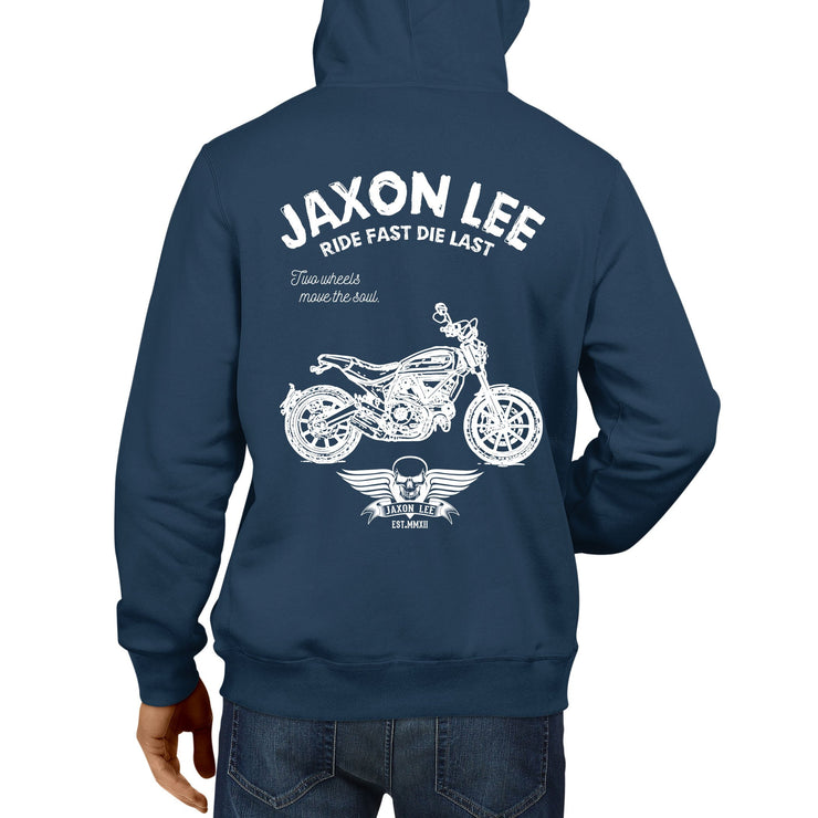 JL Ride Illustration For A Ducati Scrambler Full Throttle Motorbike Fan Hoodie