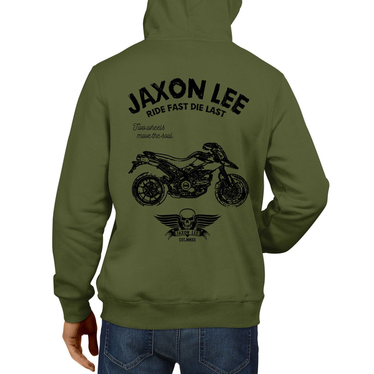 JL Ride Illustration For A Ducati Hypermotard 796 Motorbike Fan Hoodie