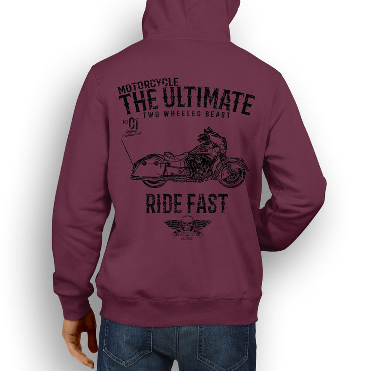 JL Ultimate Illustration For A Indian Chieftain Dark Horse Motorbike Fan Hoodie
