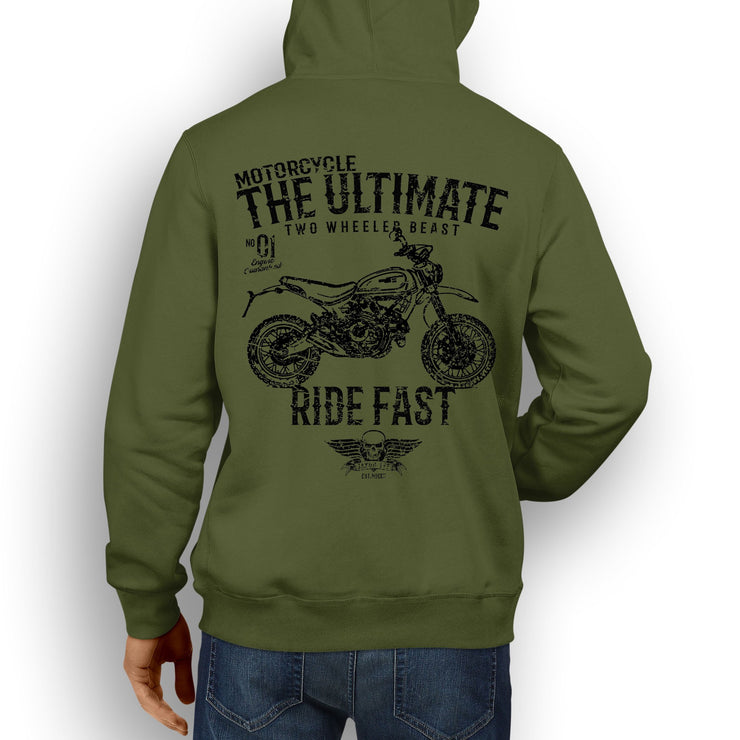 JL Ultimate Illustration For A Ducati Scrambler Desert Sled Motorbike Fan Hoodie