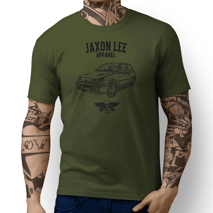 Jaxon Lee Illustration For A Ford Fiesta RS Turbo Motorcar Fan T-shirt