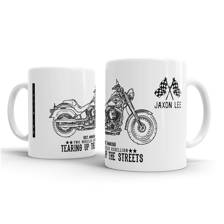 JL Art Mug aimed at fans of Harley Davidson Fat Boy Motorbike