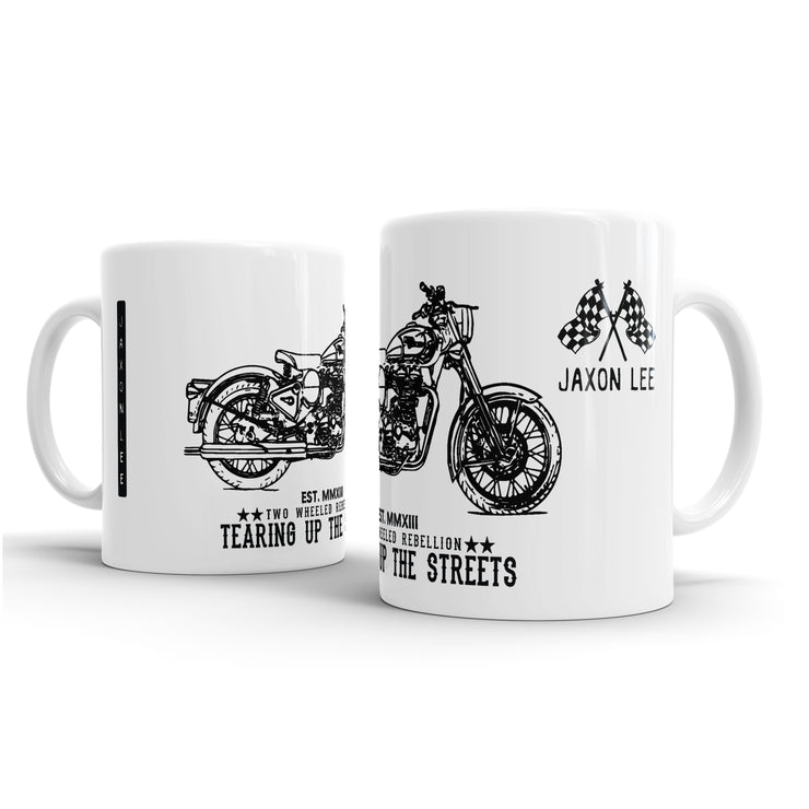 JL Illustration For A Royal Enfield Bullet C5 Chrome Motorbike Fan – Gift Mug