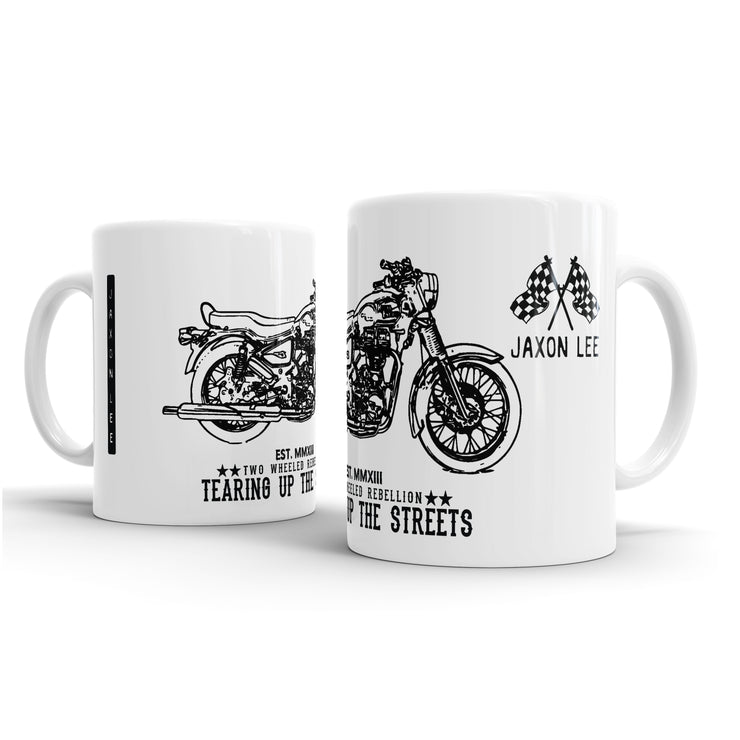 JL Illustration For A Royal Enfield Bullet G5 Deluxe Motorbike Fan – Gift Mug