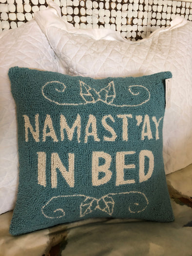 Hooked Wool Pillow - Namast'ay in Bed