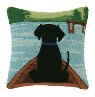 Hooked Wool Pillow - Black Dog on Dock