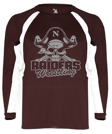 Badger - B-Core Hook Long Sleeve T-Shirt Maroon/White with Grey Logo