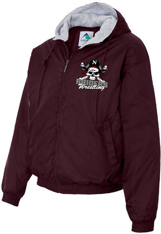Embroidered Fleece Lined Hooded Jacket Maroon