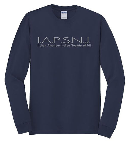 Long Sleeve Tee Navy with Grey Design