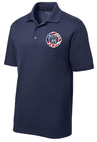 Performance Short Sleeve Polo Embroidered Flag Design