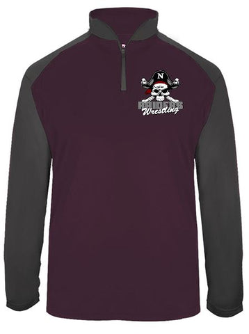 Embroidered Badger - Ultimate SoftLock™ Sport Quarter-Zip Pullover Maroon/Grey