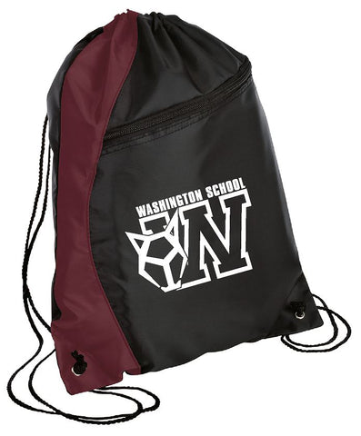 String Backpack Maroon/Black with Logo