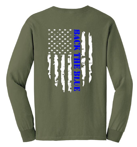 Long Sleeve Back The Blue OD Green