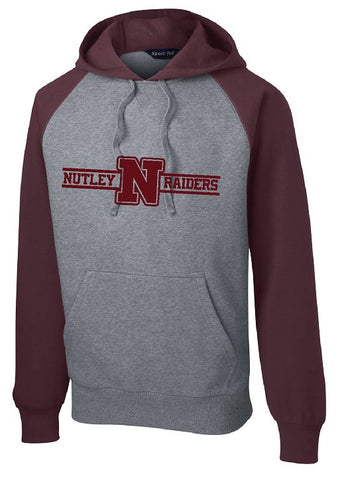 Raglan Colorblock Pullover Hooded Sweatshirt Maroon/Grey with Maroon Logo