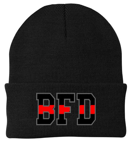 BFD Embroidered Red Line Knit Hat