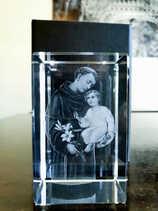 Saint Anthony - 3D Crystal Engraved