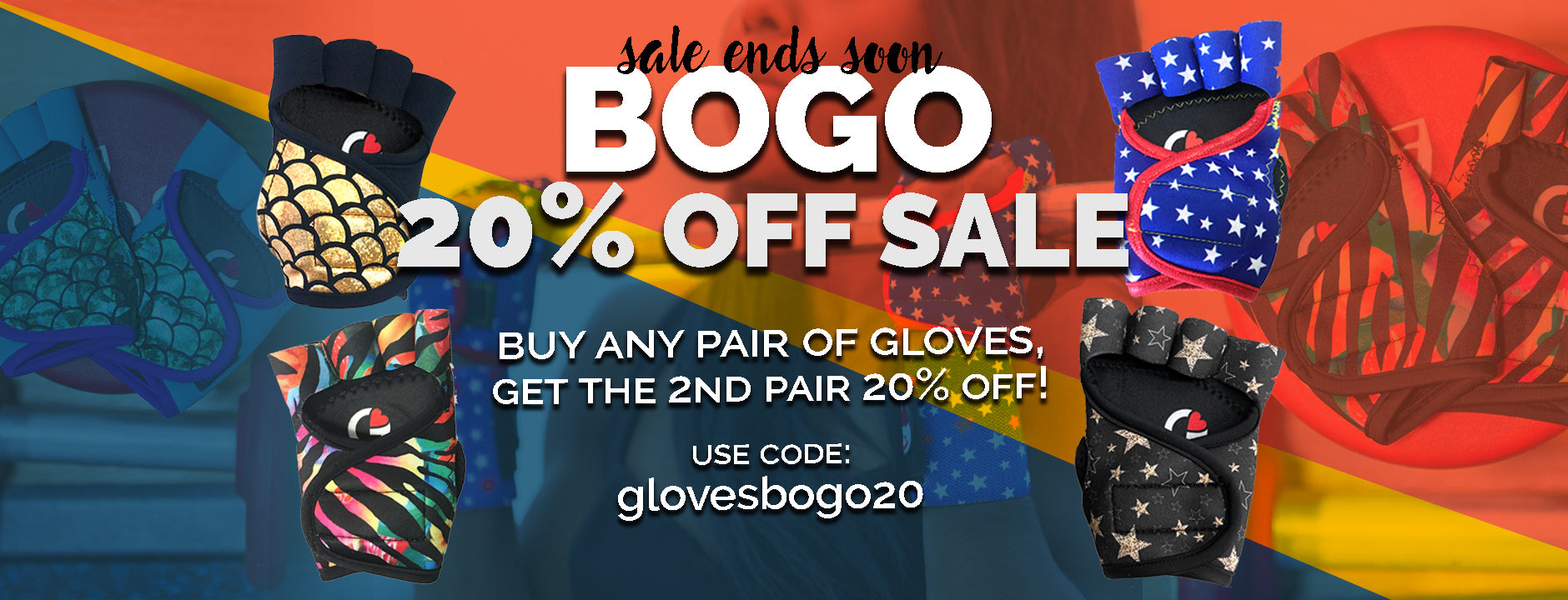 gloves bogo 20% off sale